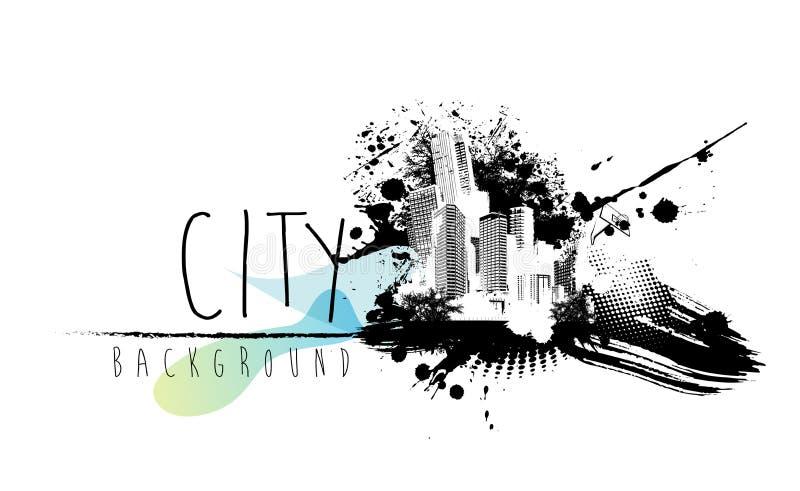 Ilustração abstrata com scape da cidade ilustração royalty free