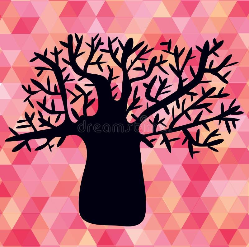 Ilustração abstrata com a silhueta da árvore em triângulos ilustração do vetor