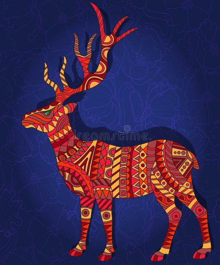 Ilustração abstrata com veados vermelhos em uma obscuridade - fundo floral azul ilustração royalty free