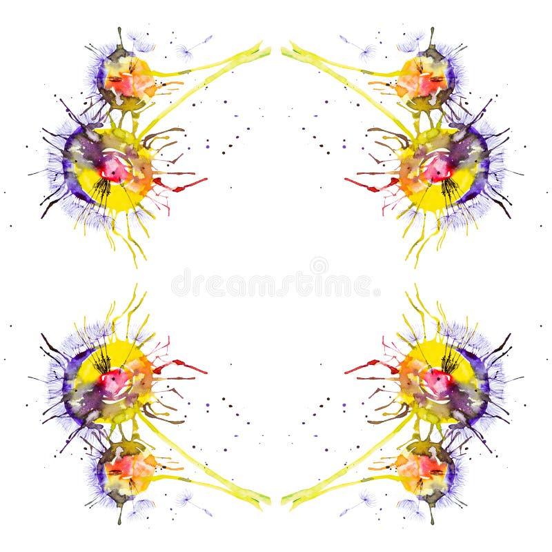 Ilustração abstrata da aquarela dos dentes-de-leão multicoloridos brilhantes isolados no fundo branco Teste padrão sem emenda ilustração royalty free