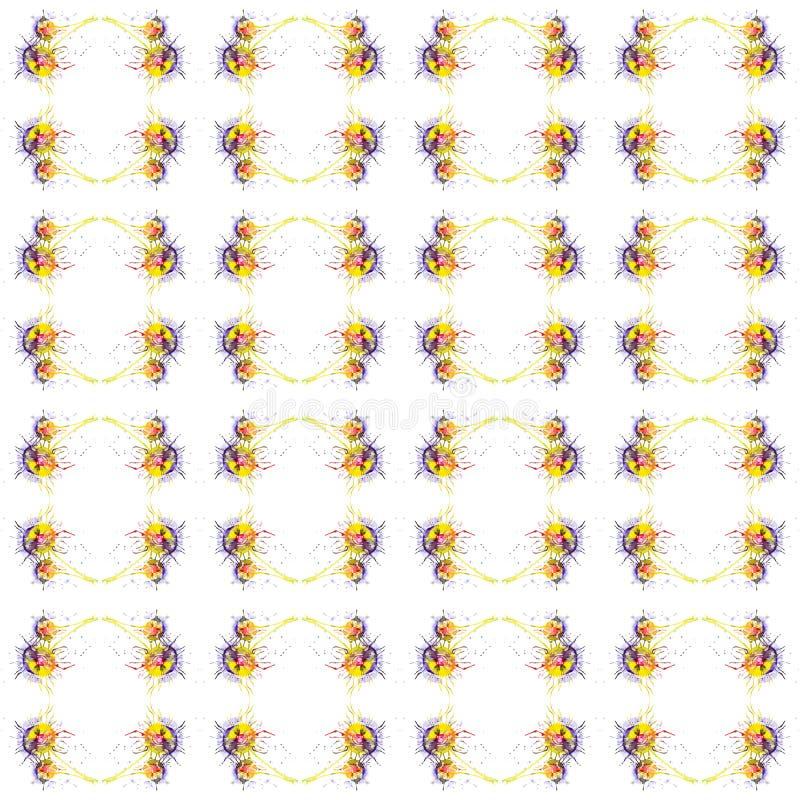 Ilustração abstrata da aquarela dos dentes-de-leão multicoloridos brilhantes isolados no fundo branco Teste padrão sem emenda ilustração stock