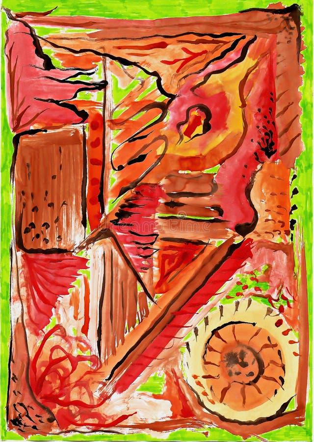 Ilustração abstrata da aquarela no fundo verde imagens de stock royalty free