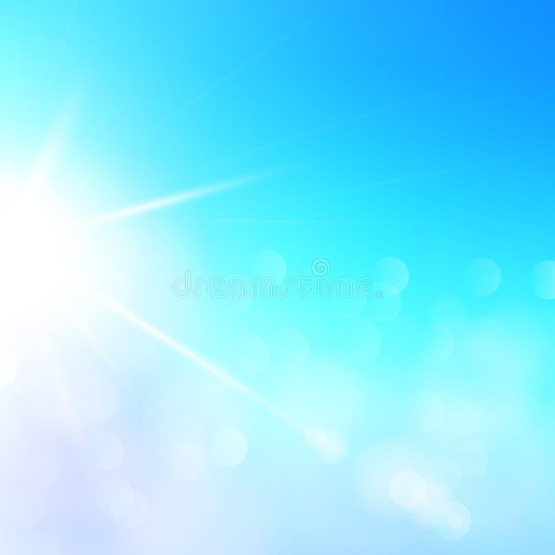 Ilustração abstrata da luz solar do verão do vetor Céu azul do fundo ensolarado com luzes defocused Alargamento especial da lente ilustração stock