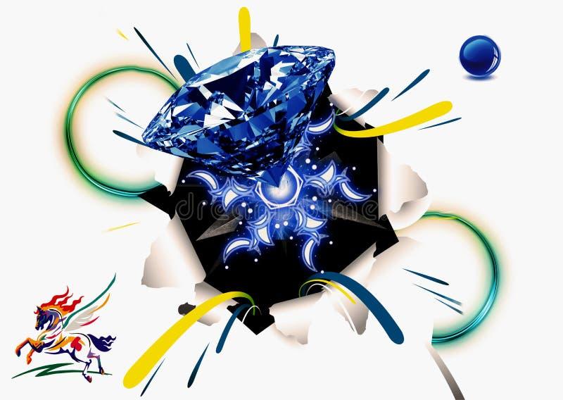 Ilustração abstrata da rendição 3d de um Livro Branco de Diamond Pursing Out Of A com Logo Horse On tirado o lado ilustração do vetor