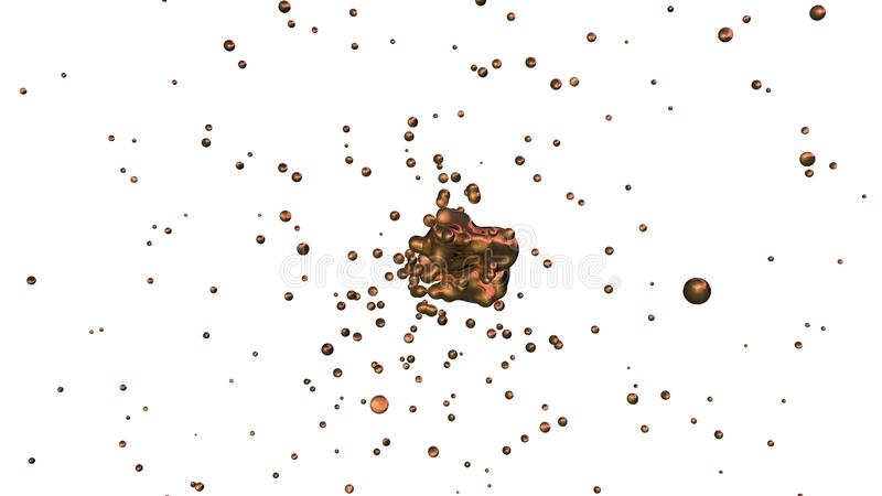 A ilustração abstrata das gotas do metal líquido, bronze, ouro, cobre, córrego do voo, dispersa em sentidos e na fusão diferentes ilustração stock