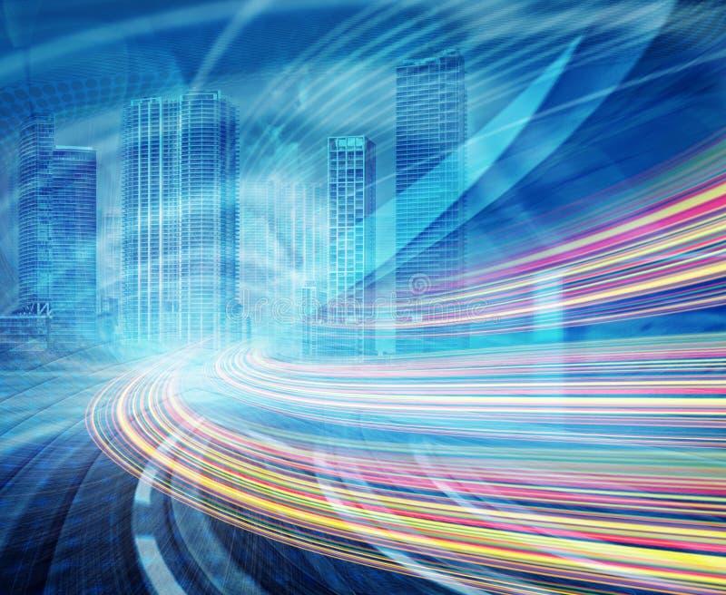 Ilustração abstrata de uma estrada urbana que vai a ilustração stock