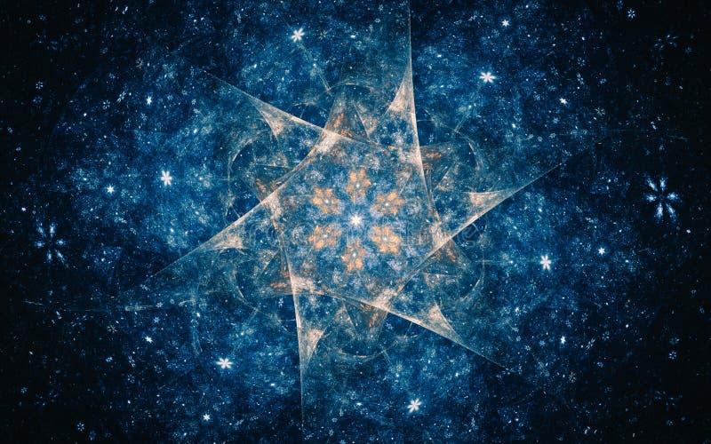 Ilustração abstrata de uma estrela fantástica com um interior da flor contra um céu estrelado azul fabuloso ilustração royalty free