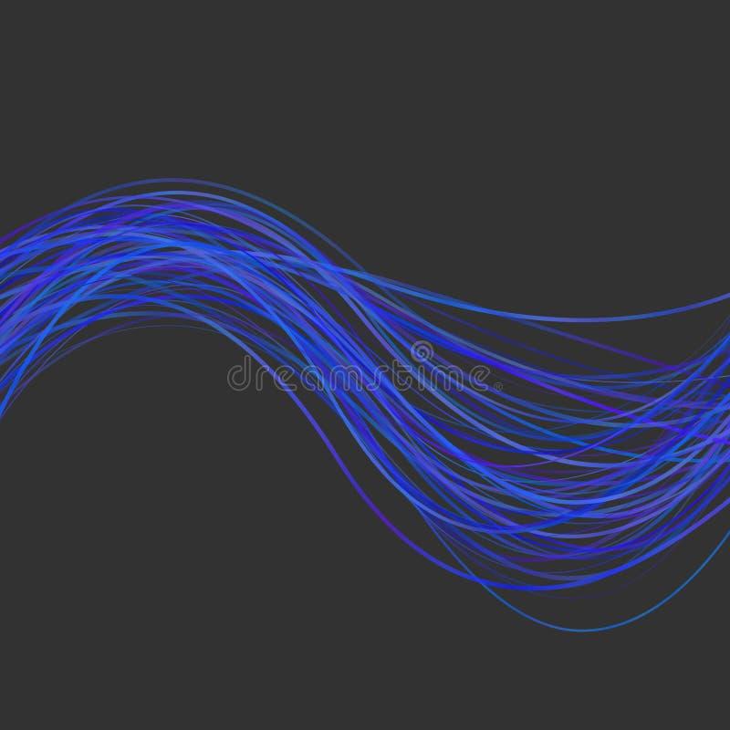 A ilustração abstrata dinâmica do fundo da listra da onda do azul colorido curvou linhas ilustração royalty free