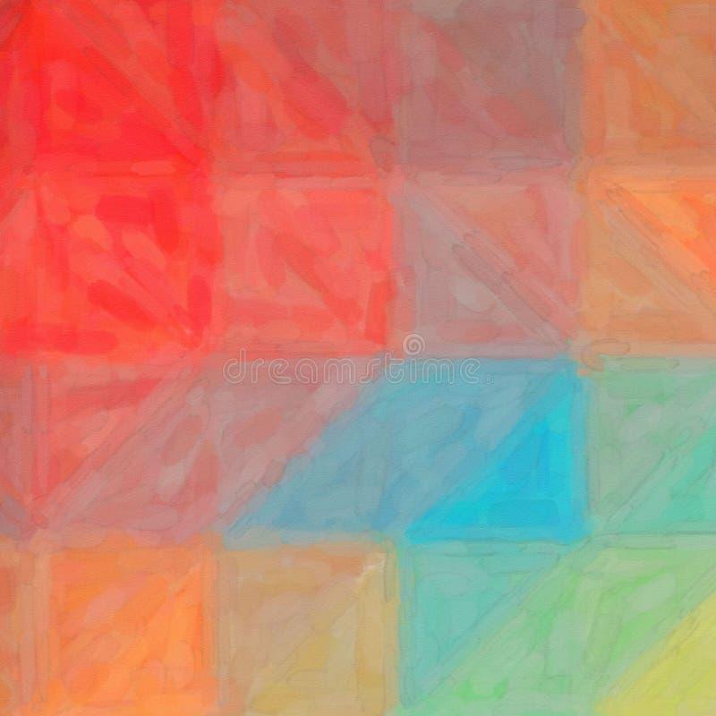 Ilustração abstrata do fundo abstrato azul e amarelo vermelho quadrado da aquarela, gerada digitalmente ilustração do vetor