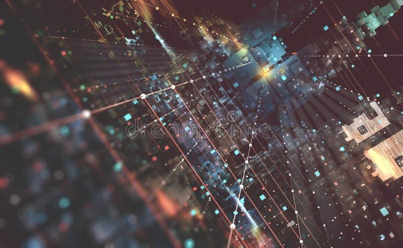 Ilustração abstrata do fundo 3D da tecnologia Arquitetura informática do quantum Cidade fantástica da noite ilustração stock