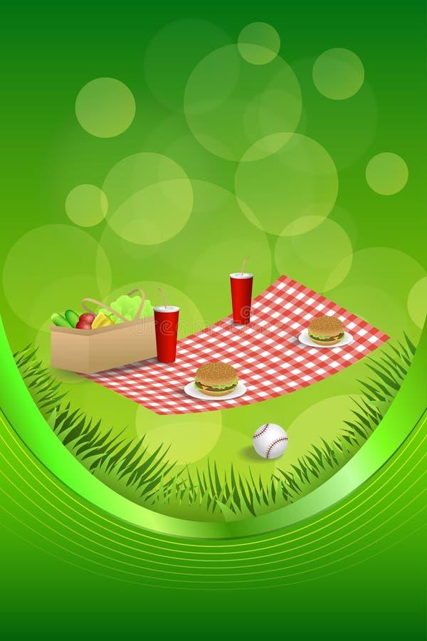 Ilustração abstrata do vertical da fita do quadro da bola do basebol dos vegetais da bebida do Hamburger da cesta do piquenique d ilustração do vetor