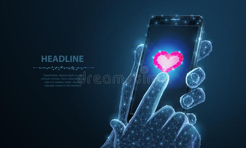 Ilustração abstrata do vetor do app do ícone do coração do smartphone Fundo isolado O dia de são valentim, romance do amor, gosta ilustração stock