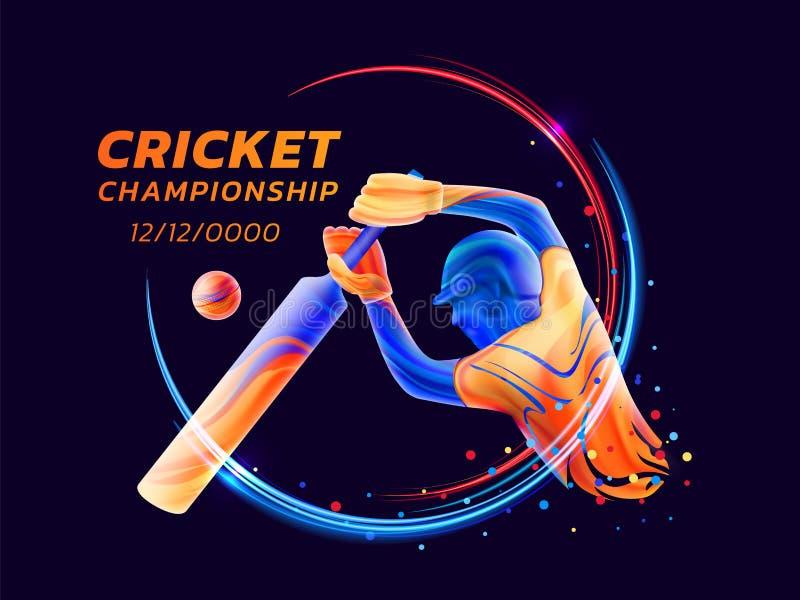 A ilustração abstrata do vetor do batedor que joga o críquete do líquido colorido espirra e os cursos da escova com as linhas de  ilustração do vetor