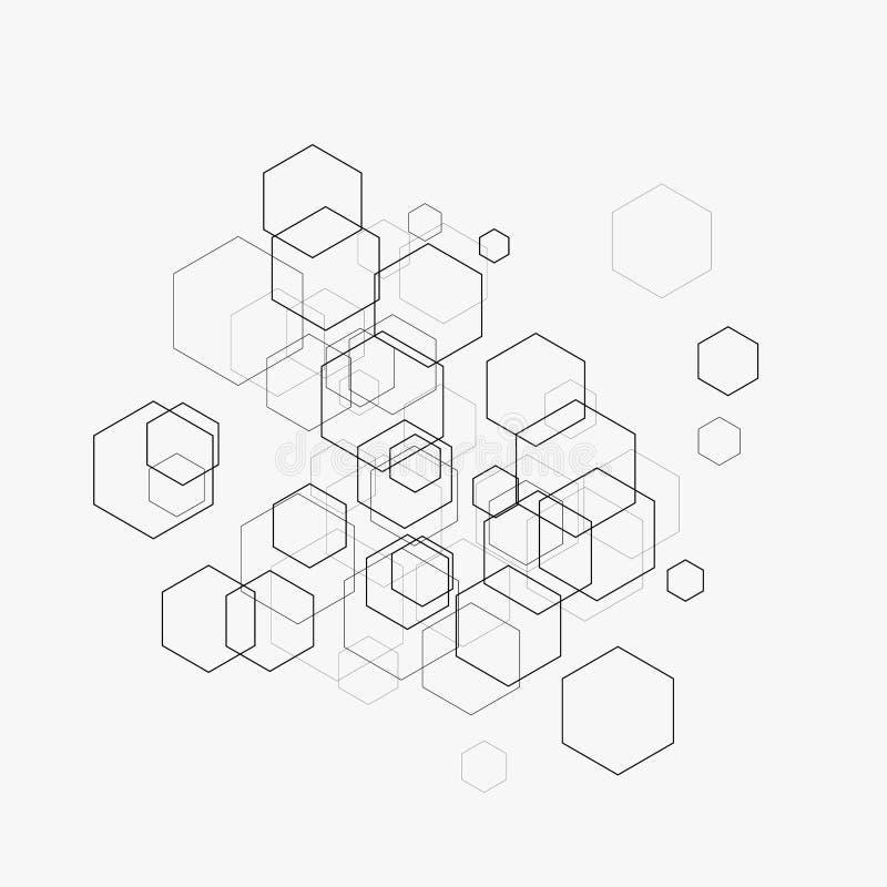 Ilustração abstrata do vetor com hexágonos e linhas no fundo branco Hexágono Infographic Tecnologia de Digitas ilustração stock