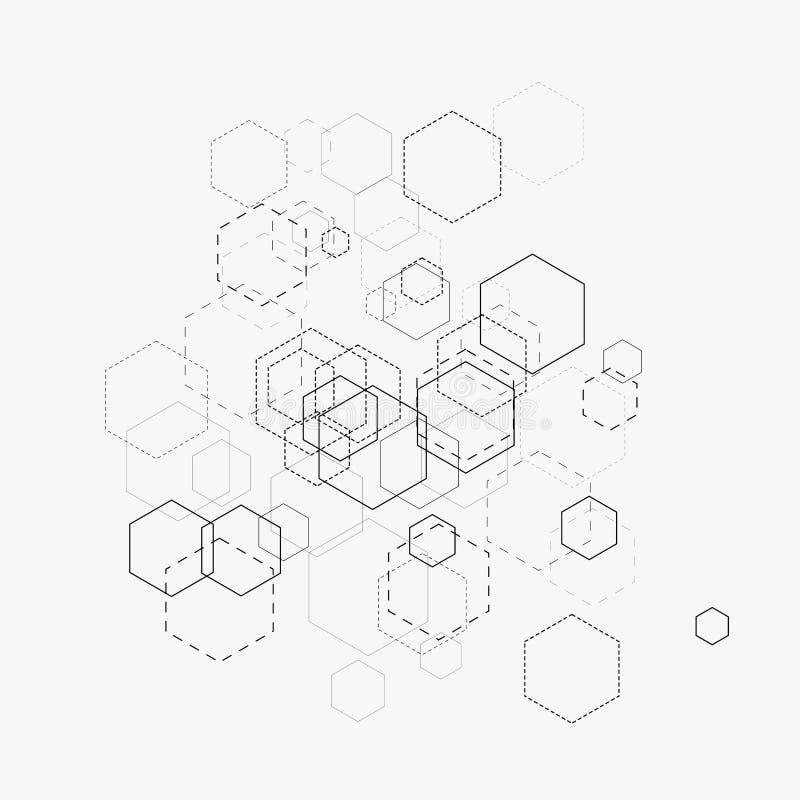 Ilustração abstrata do vetor com hexágonos e linhas no fundo branco Hexágono Infographic Tecnologia de Digitas, conceito da ciênc ilustração royalty free