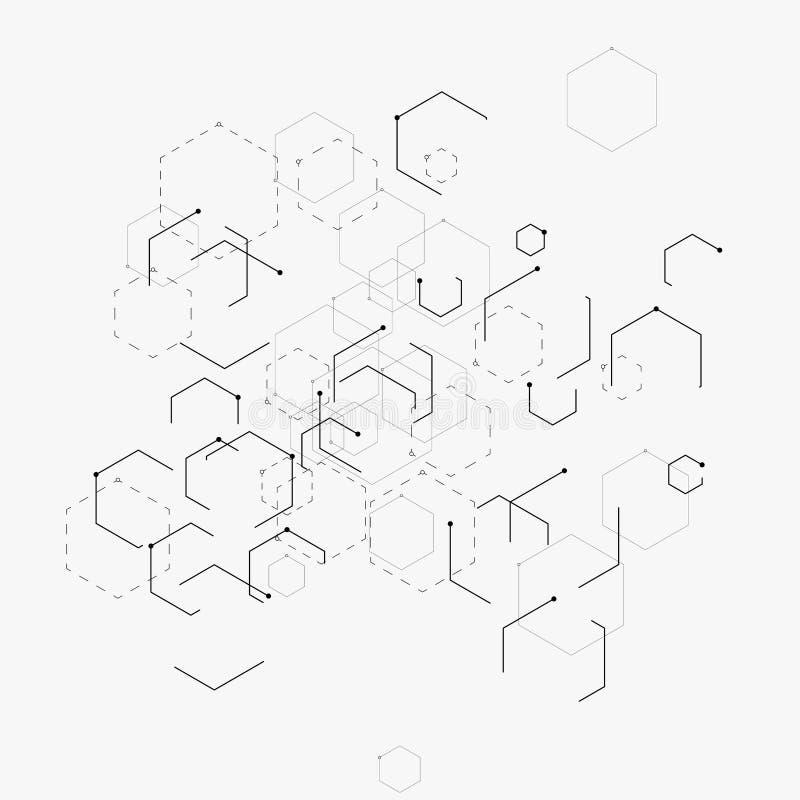 Ilustração abstrata do vetor com hexágonos, linhas e pontos no fundo branco Hexágono Infographic Tecnologia de Digitas ilustração do vetor