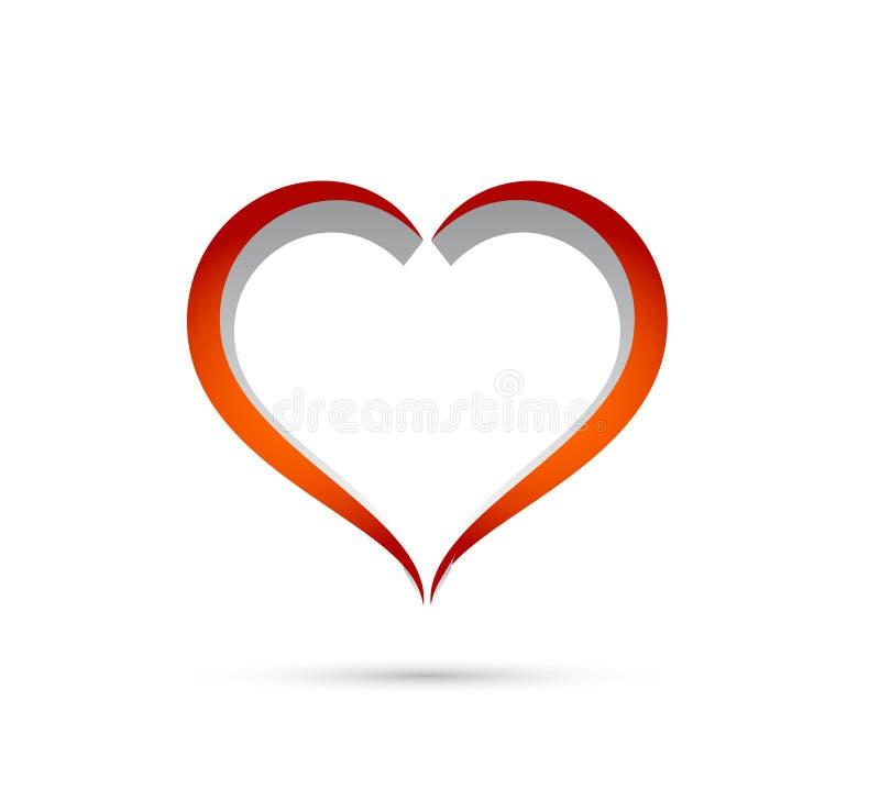 Ilustração abstrata do vetor do cuidado do esboço da forma do coração Ícone vermelho do coração no estilo liso ilustração royalty free