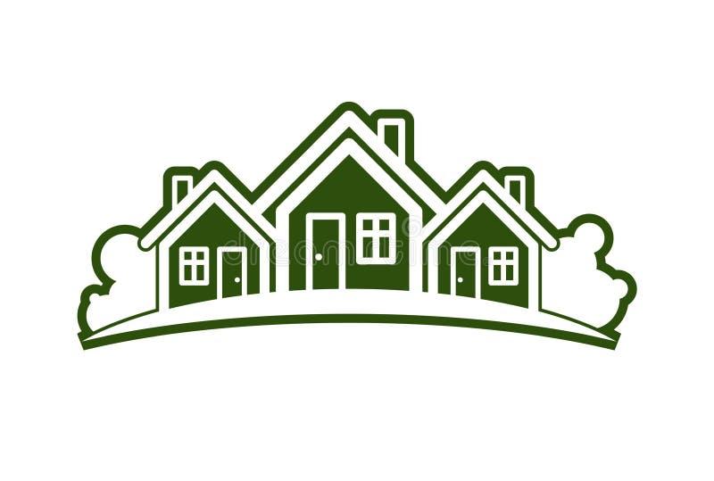 Ilustração abstrata do vetor das casas de campo com linha do horizonte ilustração do vetor