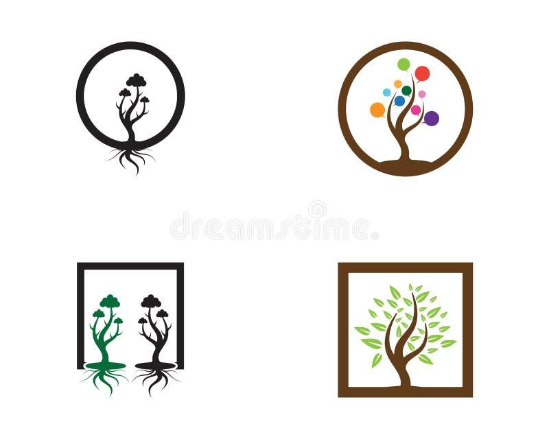Ilustração abstrata do vetor do logotipo do ícone das árvores ilustração royalty free