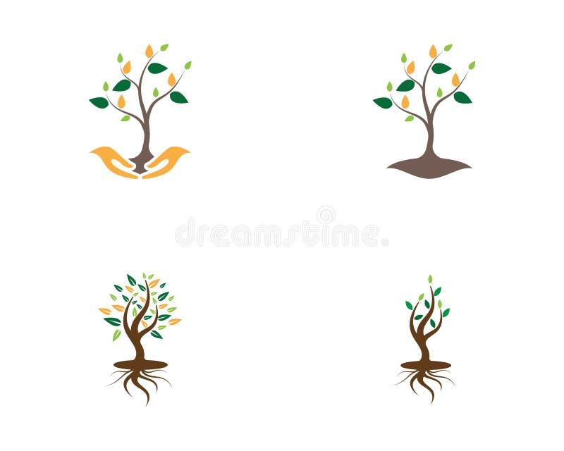Ilustração abstrata do vetor do logotipo do ícone das árvores ilustração stock
