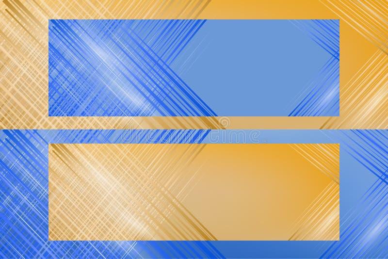 Ilustração abstrata Dois azuis e bandeiras amarelas para anunciar com espaço para o texto ilustração do vetor