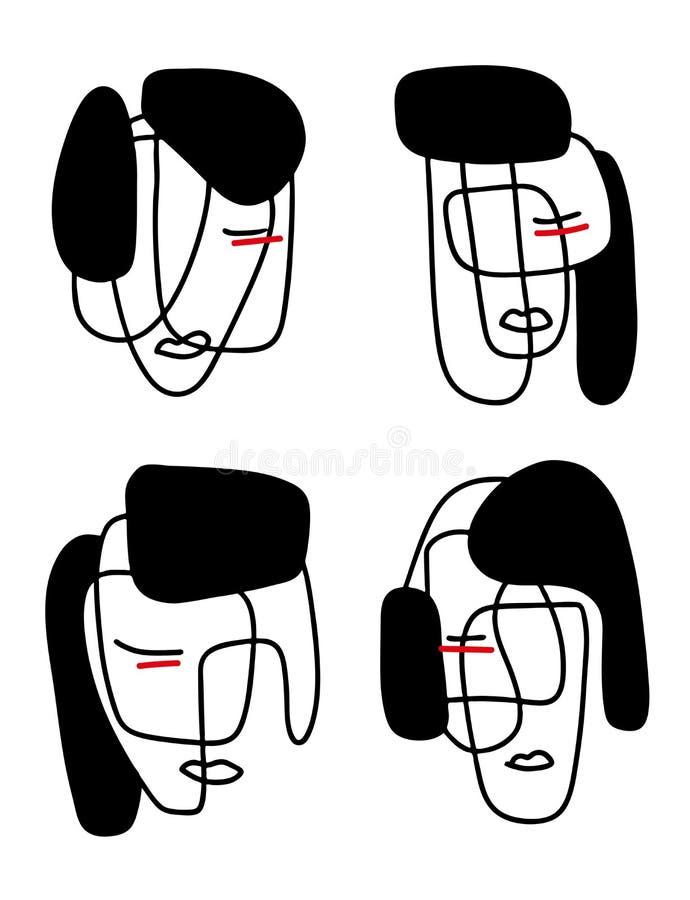 Ilustração abstrata dos retratos Linha arte de Minimalistic Elementos para cartão, cópias, matéria têxtil ou logotipos ilustração do vetor