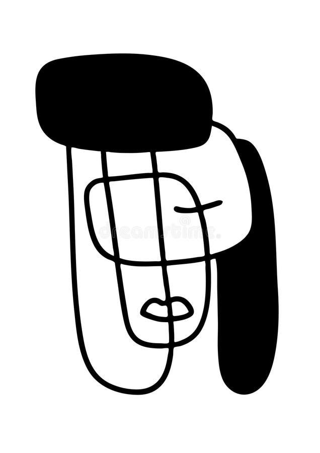 Ilustração abstrata dos retratos Linha arte de Minimalistic Elementos para cartão, cópias, matéria têxtil ou logotipos ilustração stock