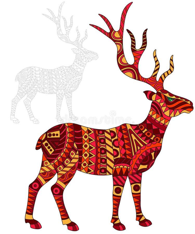 Ilustração abstrata dos veados vermelhos, veado e pintado seu esboço no fundo branco ilustração royalty free