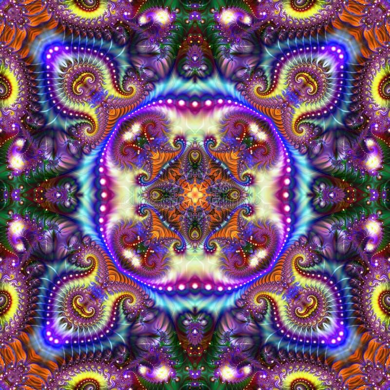 Ilustração abstrata em um tema do fractal com com um grande grupo de cor e iluminação em um fundo translúcido ilustração stock