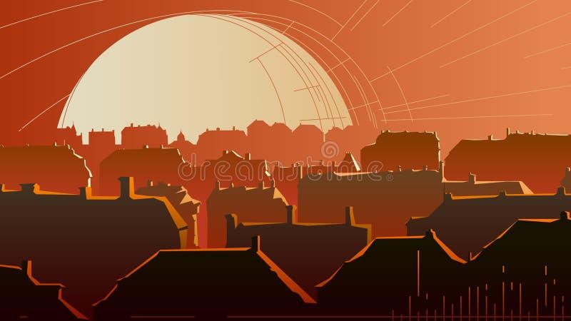 Ilustração abstrata horizontal da parte do centro da cidade no sol ilustração stock