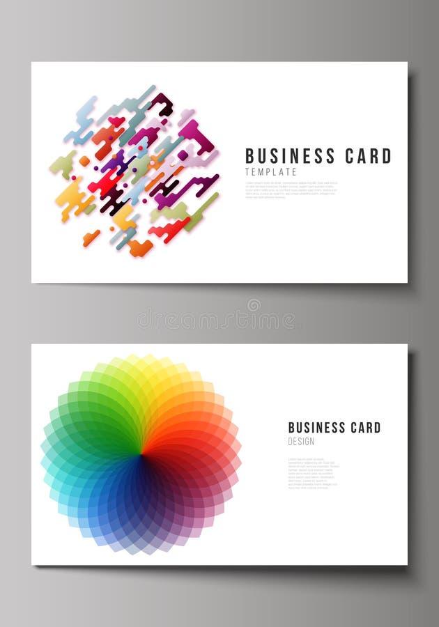A ilustração abstrata minimalistic do vetor da disposição editável de dois moldes criativos do projeto de cartões ilustração royalty free