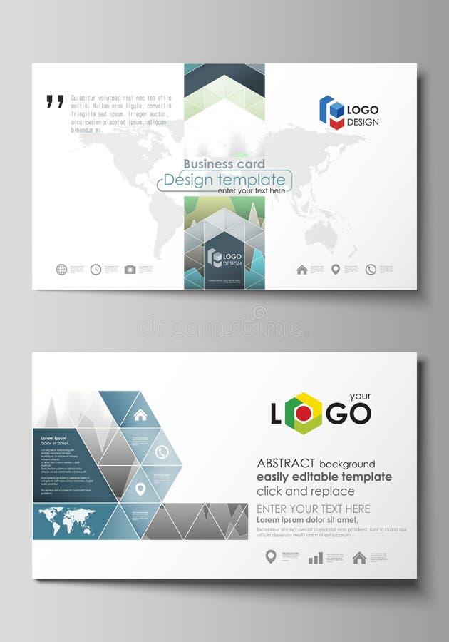 A ilustração abstrata minimalistic do vetor da disposição editável de dois moldes criativos do projeto de cartões ilustração stock