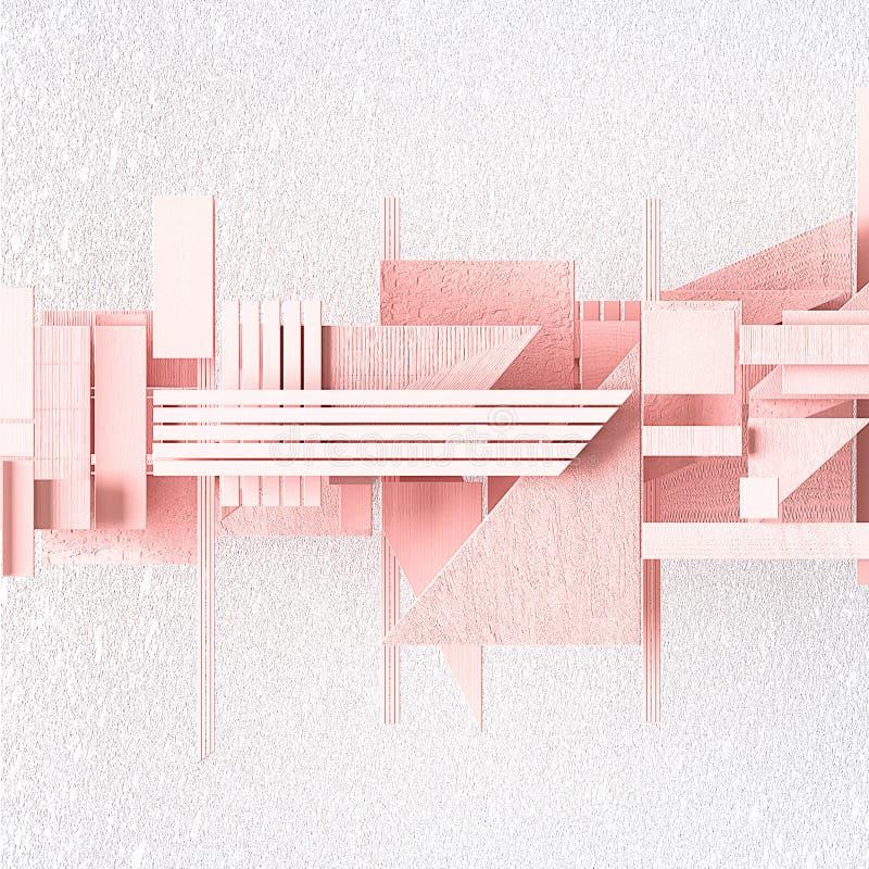 A ilustração abstrata no estilo vanguardista, 3d rende Formas cor-de-rosa em um fundo textured branco ilustração stock