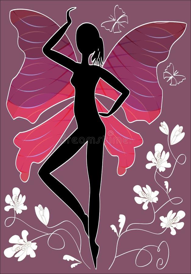 Ilustração abstrata - sillhouete da mulher negra com asas da borboleta e as flores brancas sobre profundamente - fundo roxo ilustração royalty free