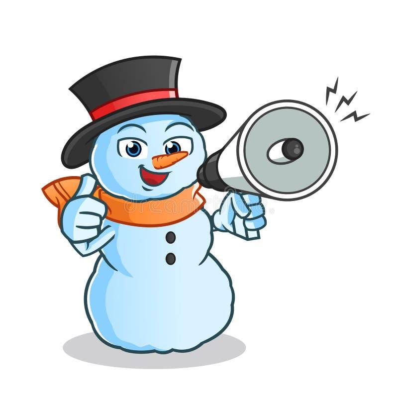 Ilustração acessível dos desenhos animados do vetor da mascote do altifalante da posse feliz do boneco de neve ilustração royalty free
