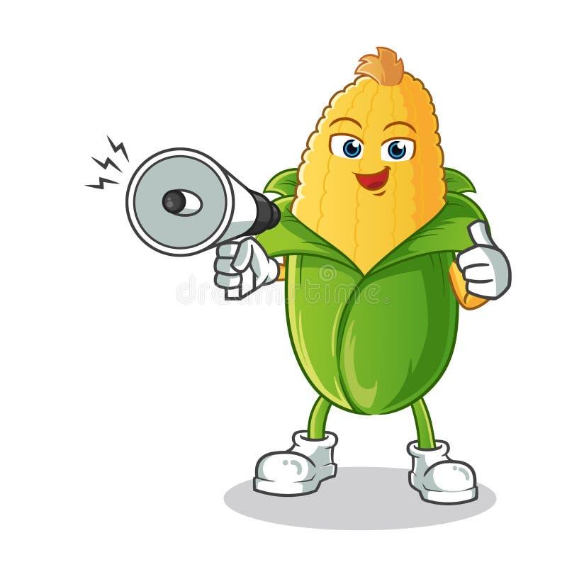 Ilustração acessível dos desenhos animados do vetor da mascote do altifalante da posse feliz do milho ilustração do vetor