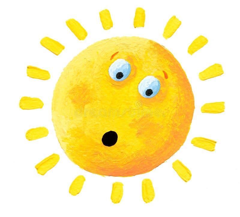 Ilustração acrílica Surprised Sun ilustração do vetor