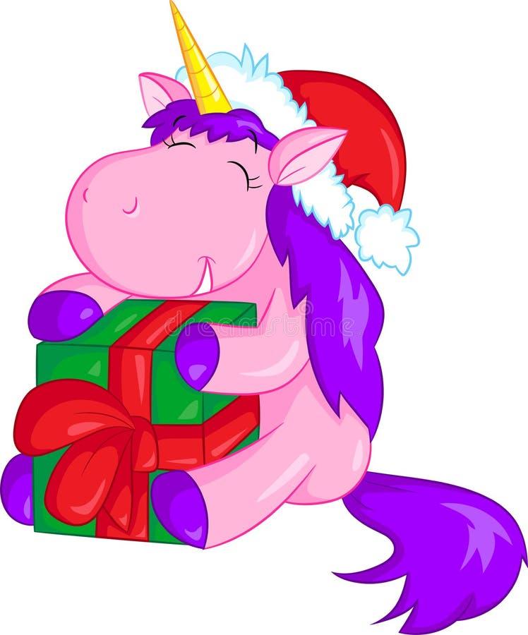 Ilustração adorável de um unicórnio pequeno bonito que guarda e que abraça um presente de Natal, colorida belamente, para o livro ilustração stock