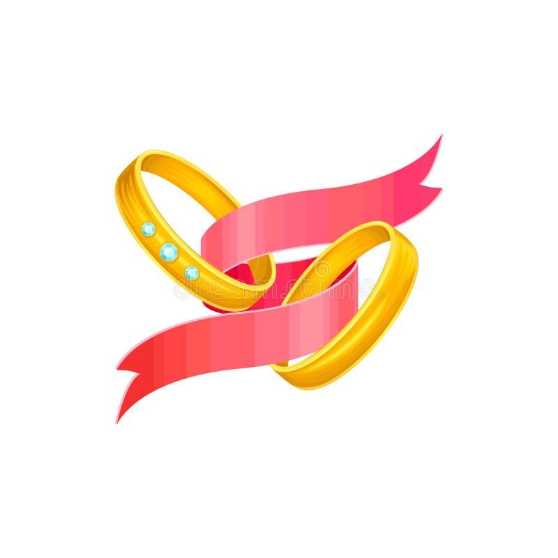 Ilustração adorável do feriado de dois anéis clássicos dourados do casamento para noivos Objetos isolados no branco com ilustração royalty free