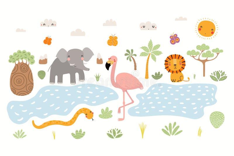 Ilustração africana bonito dos animais ilustração do vetor