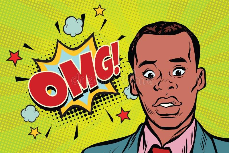 Ilustração africana da surpresa do homem do pop art de Omg ilustração royalty free