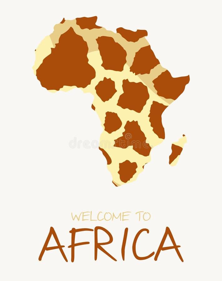 Ilustração africana do mapa do girafa ilustração do vetor
