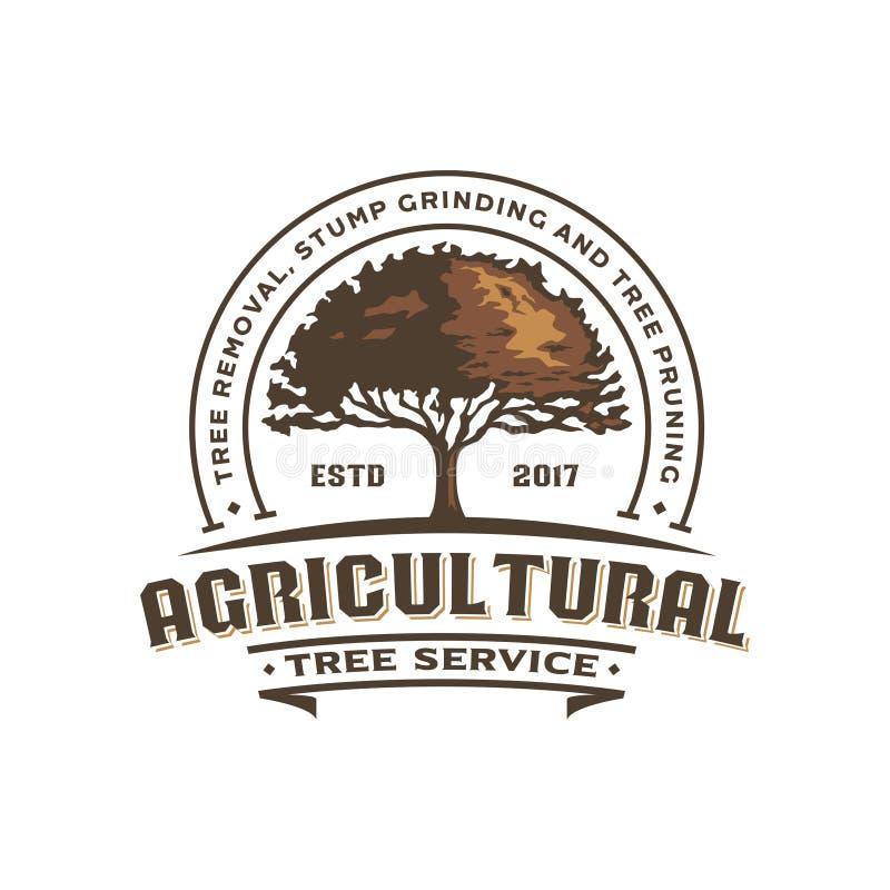 Ilustração agrícola do logotipo do vintage do carvalho ilustração royalty free