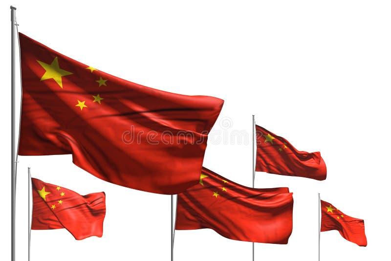 Ilustração agradável da bandeira 3d da festa - cinco bandeiras de China são onda isolada no branco ilustração royalty free