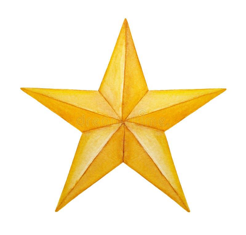 Ilustração aguçado da estrela do ouro cinco ilustração royalty free