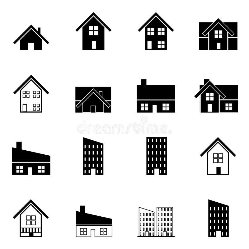 Ilustração ajustada ícones do vetor da casa e da construção ilustração royalty free