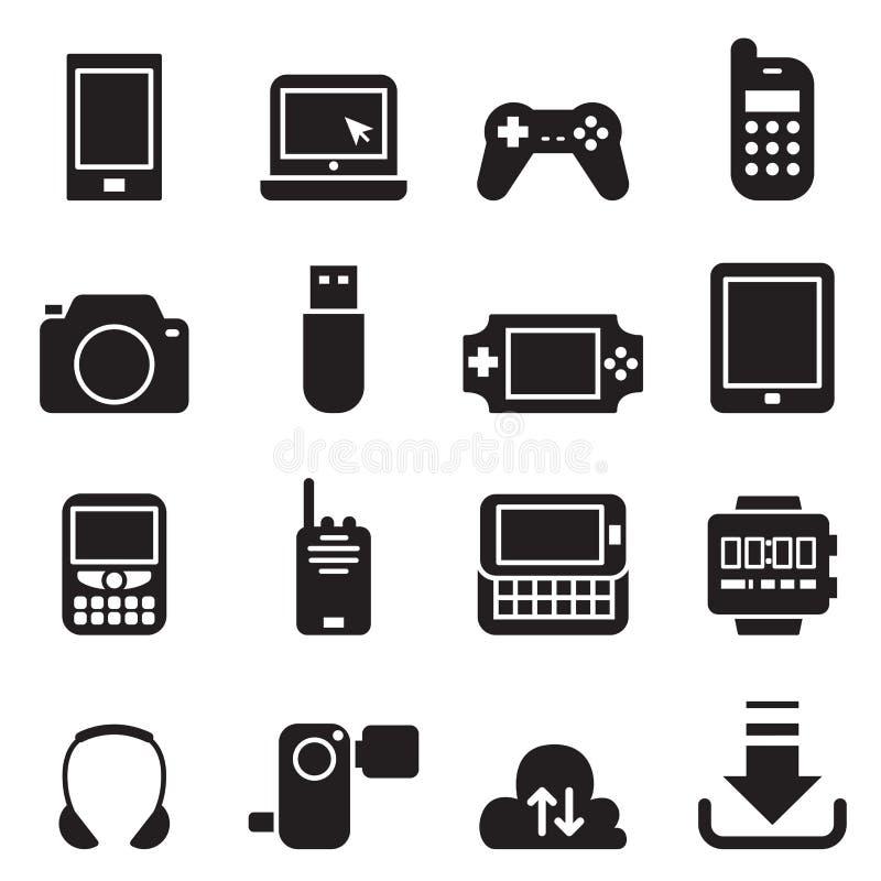 Ilustração ajustada ícones do vetor do dispositivo móvel ilustração do vetor