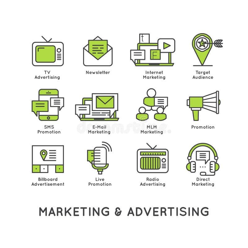 Ilustração ajustada com tipos diferentes da promoção ilustração stock
