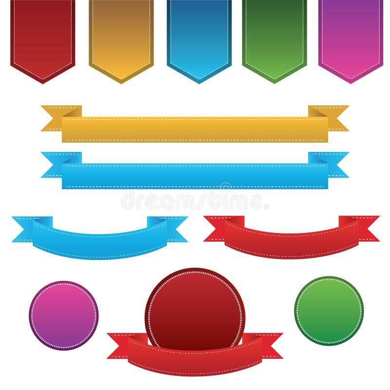 Ilustração ajustada da fita e da etiqueta ilustração stock