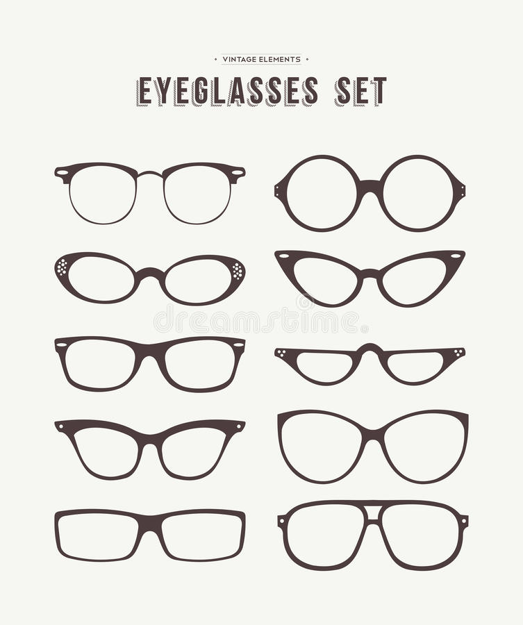 Ilustração ajustada da forma do ícone dos vidros do olho do moderno ilustração royalty free